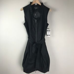 Samuel Dong Black dress zip up knee length